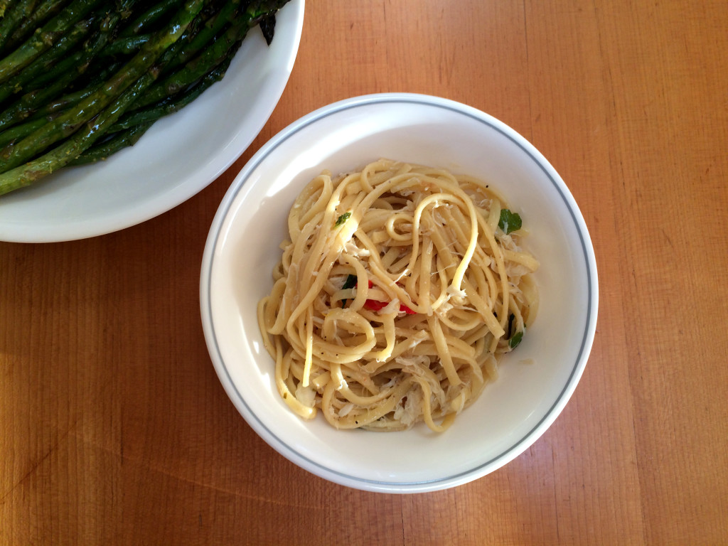 linguine with crab, lemon, chile, and mint – sweet salt crunch